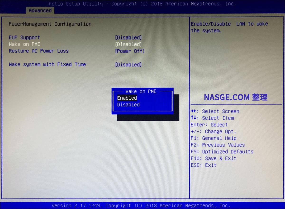 其他台式机主板Bios设置网络唤醒设置
